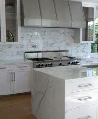 "Carrera marble slab counter top and ""waterfall"". Carrera"