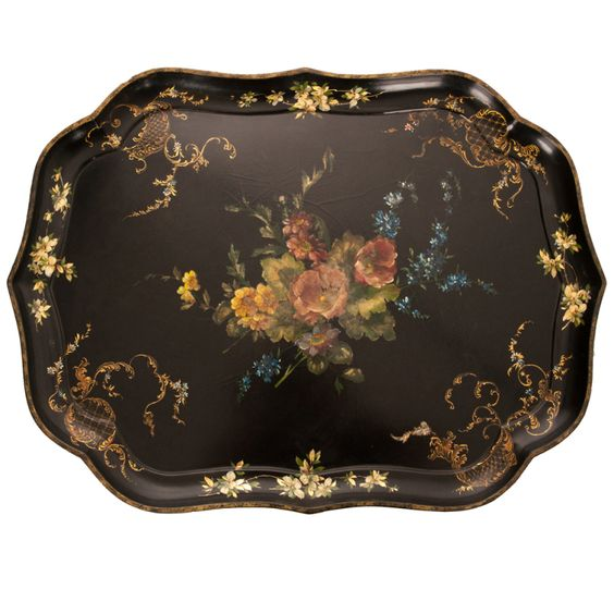 English 19th C Black Lacquer Tray: