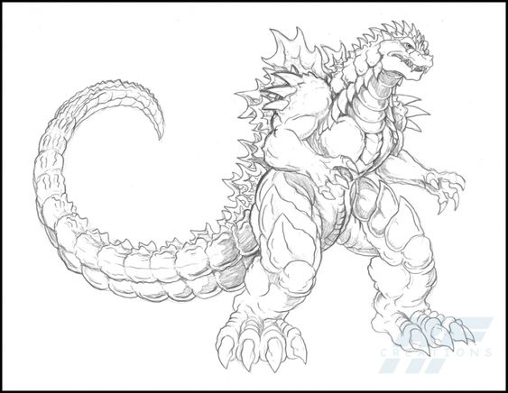 A Detailed Sketch Of Almighty Godzilla Coloring Page