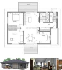 Small house plan in one level. Simple shapes and classical ...