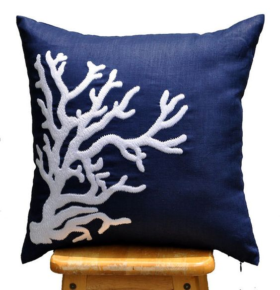 Coral Throw Pillow Cover White Nautical Coral on Navy