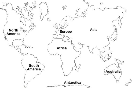 World Map Outline Continents Sketch Coloring Page