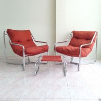 2 mid century modern chrome sling lounge chairs & ottoman ...