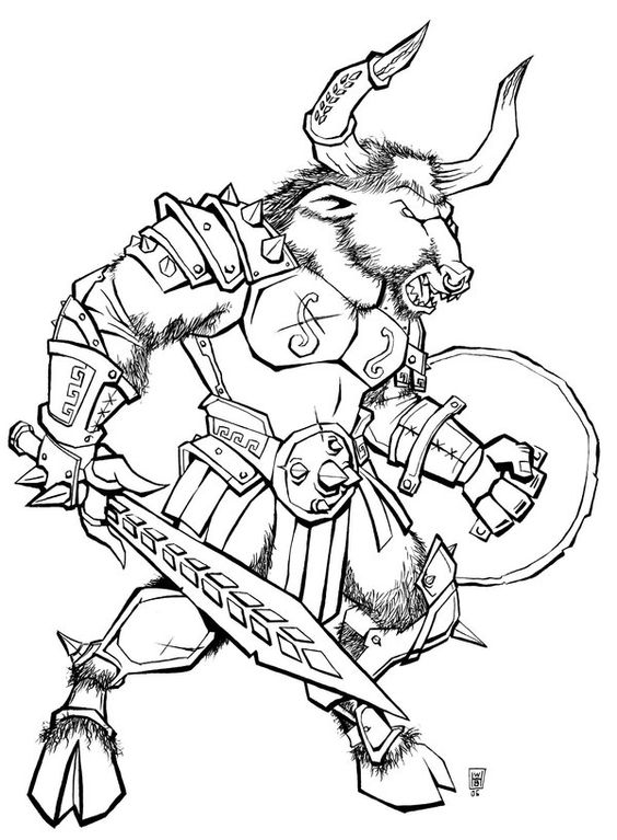 Percy Jackson Minotaur Coloring Page Coloring Pages