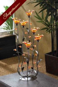Large Wedding Centerpiece Amber Calla Lily Candle Holder ...