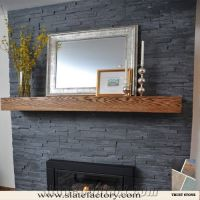 Cultured Slate Fireplace Surround, Black Culture Stone ...