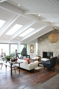 vaulted ceiling, beams, skylights, those floors ...