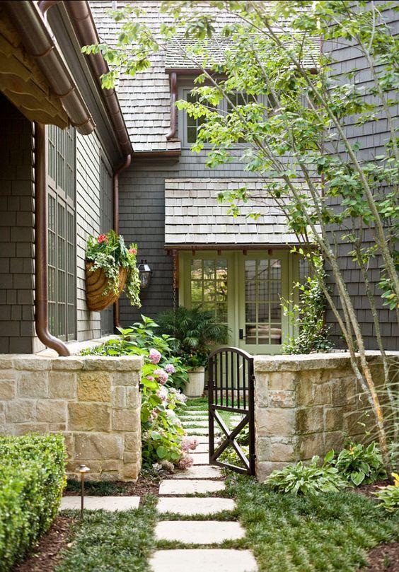 front door. door and landscaping