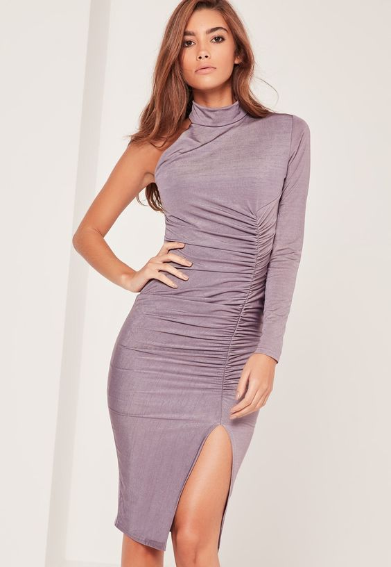 Missguided - Purple One Shoulder Ruched Slinky Midi Dress: