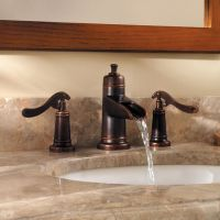 widespread bathroom faucet waterfall bronze