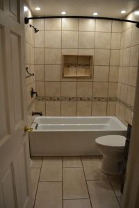 Tile tub surround, Bronze faucets and Tub surround on ...