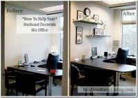 Help your husband decorate his boring small office. #