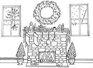 Christmas fireplace printable coloring page good for kids