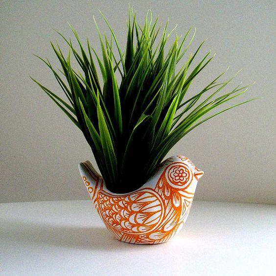 Ceramic Bird Planter Orange White Spring Home Decor Folk Art Vase