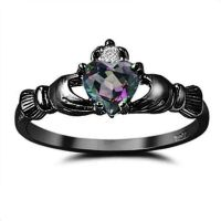 Irish Dublin Claddagh Ring with Mystic Rainbow Topaz and