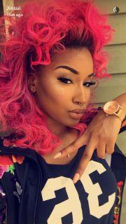 pink hair nicki minaj and curly