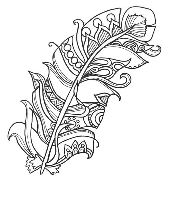 10 Fun and Funky Feather ColoringPages Original Art