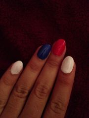 oval red white and blue acrylic