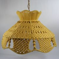 Yellow Macrame Hanging Lamp with gold chain and cord ...