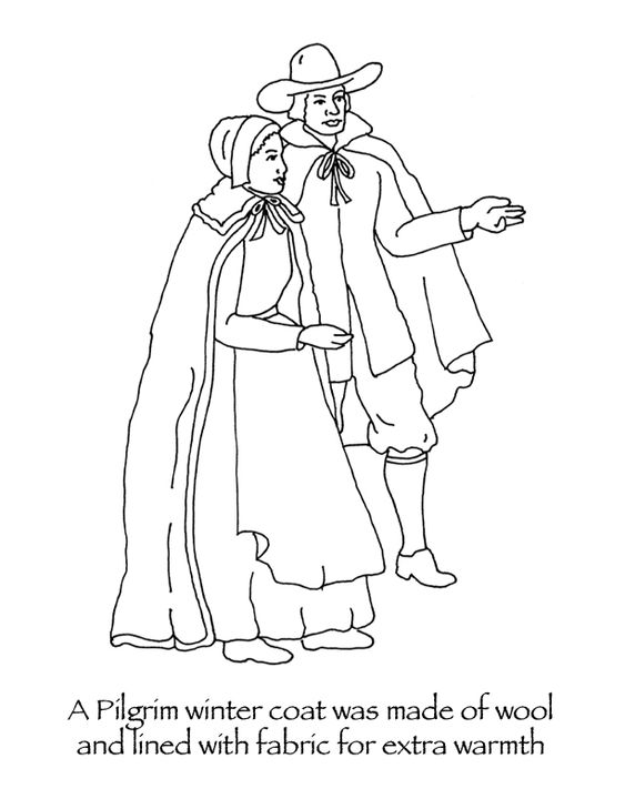Pilgrims, Thanksgiving coloring pages and Coloring pages