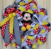 Mickey mouse wreath, Mice and Doors on Pinterest