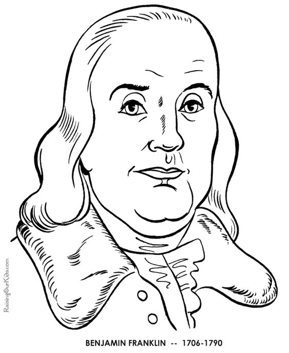 Benjamin Franklin coloring pages; All things patriotic
