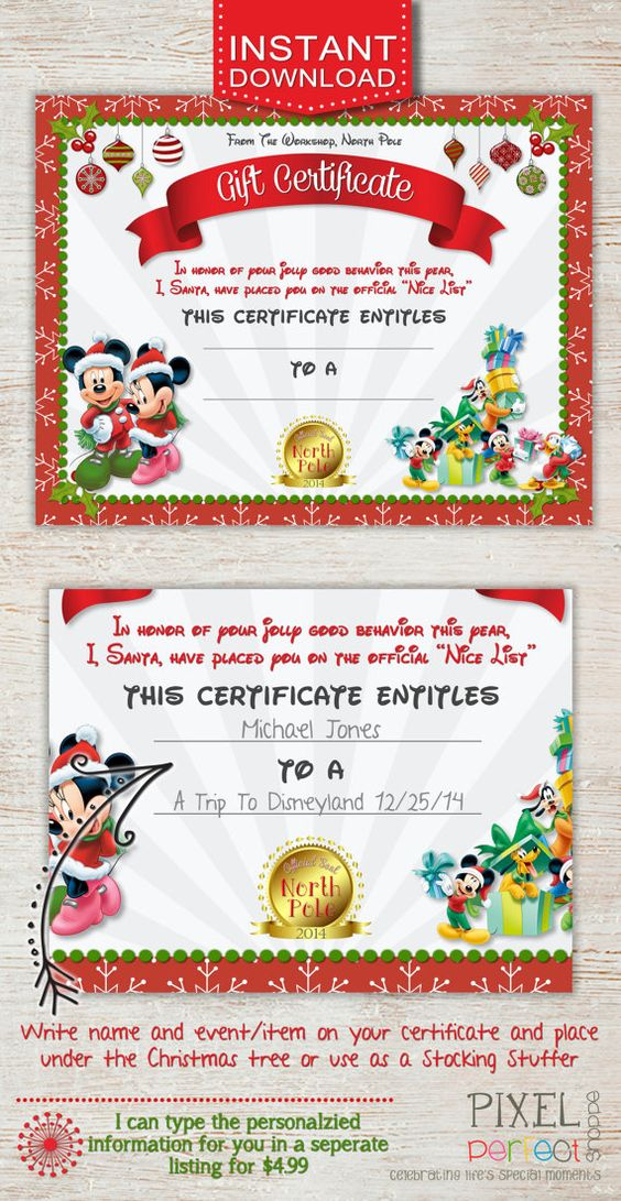 Christmas Gift Certificate Disney Trip Gift Certificate