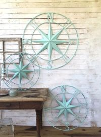 Nautical Wall Decor Metal Compass Wall Art by ...