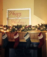 Happy Holidays Sign with a Barn Window. Christmas Fire ...
