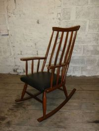 Mid Century Danish Teak Vintage Retro Rocking Chair Padded ...
