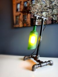 Pipe lamp, Whiskey bottle and Industrial pipe on Pinterest