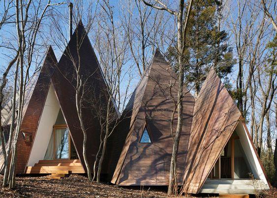 hiroshi nakamura, hiroshi nakamura & NAP, japanese architecture, nasu tepee, teepee-inspired homes, timber homes, small homes, small homes in the woods: