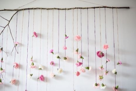Flower garland backdrop from Boho & Bubbly Baby Shower at Kara's Party Ideas. See all the details at karaspartyideas.com!:
