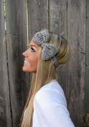 grey marble bow headband with natur