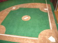 Custom-made wall to wall carpet, with a baseball diamond ...