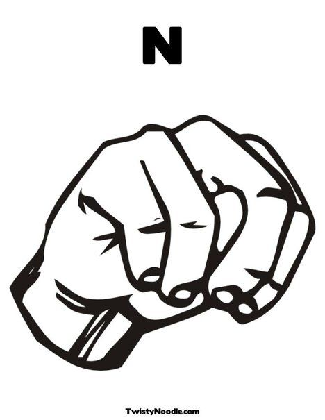 Letter n, Sign language and Coloring pages on Pinterest