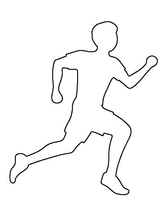 Running man pattern. Use the printable outline for crafts
