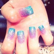 teal pink fade nail design