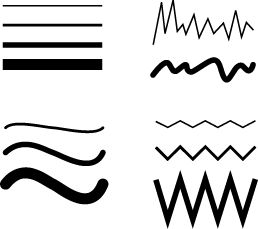 you have horizontal lines, curved lines, zig zag lines