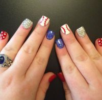 Baseball nails nail design Rangers nails | My nails ...