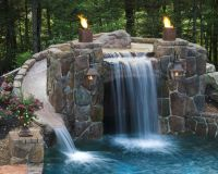 The Grotto below, waterfall & slide above... | Patios ...
