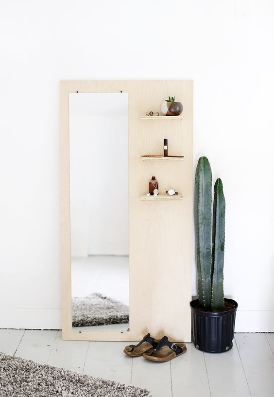 DIY Plywood Floor Mirror With Shelves themerrythought