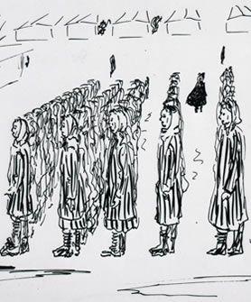 Violette Lecoq drawing of Ravensbruck concentration camp