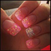 pink & silver glitter acrylic nails