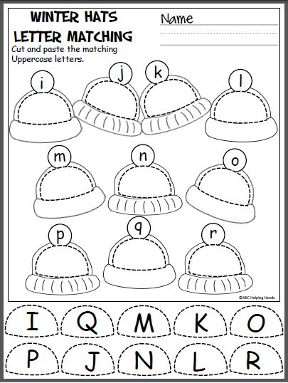 Free winter uppercase and lowercase letters cut and paste