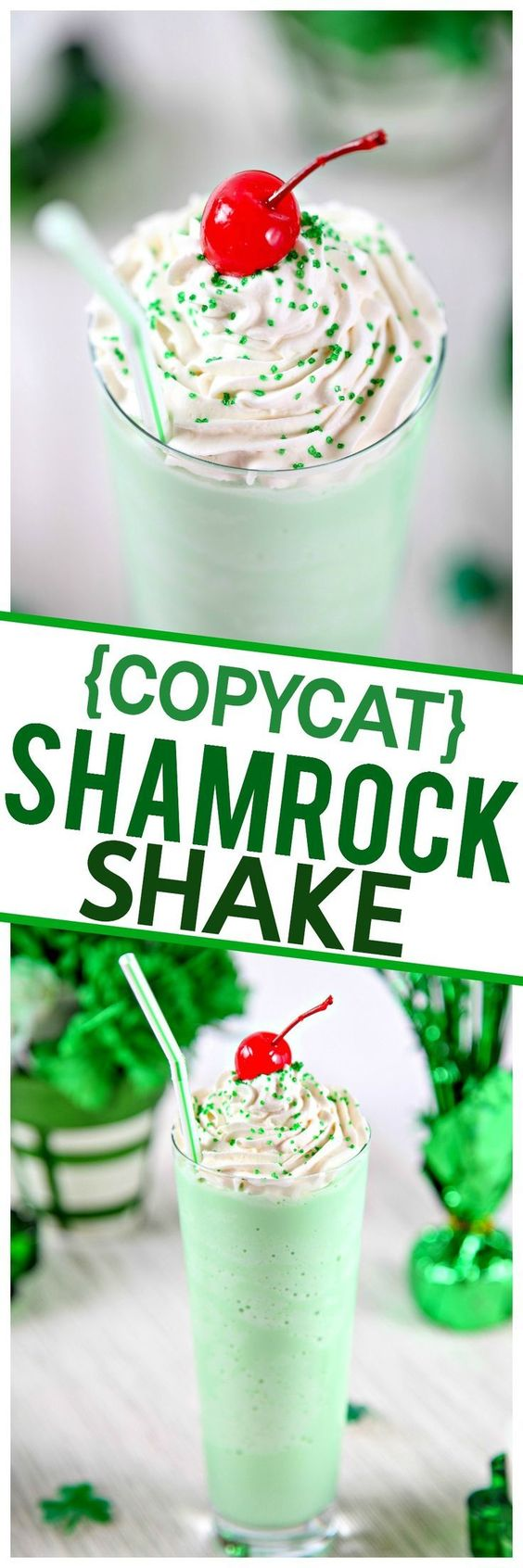 {COPYCAT} Homemade Shamrock Shake Recipe via Baking Beauty - Cool and creamy mint shake that tastes just like McDonald's Shamrock Shakes. Only 4 simple ingredients, no blender required!