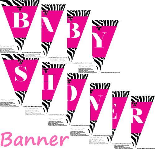 Pink An Zebra Baby Shower Banner