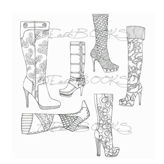 Coloring, Heel boots and Coloring books on Pinterest
