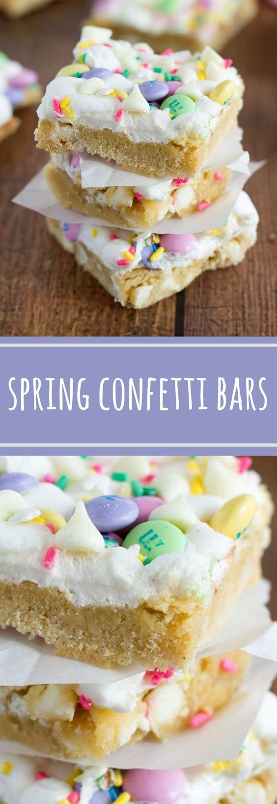Spring Confetti Bars Dessert Recipe via Chelsea's Messy Apron - Confetti bars made with Spring colored M&M's, white chocolate, Spring sprinkles, and gooey marshmallows.