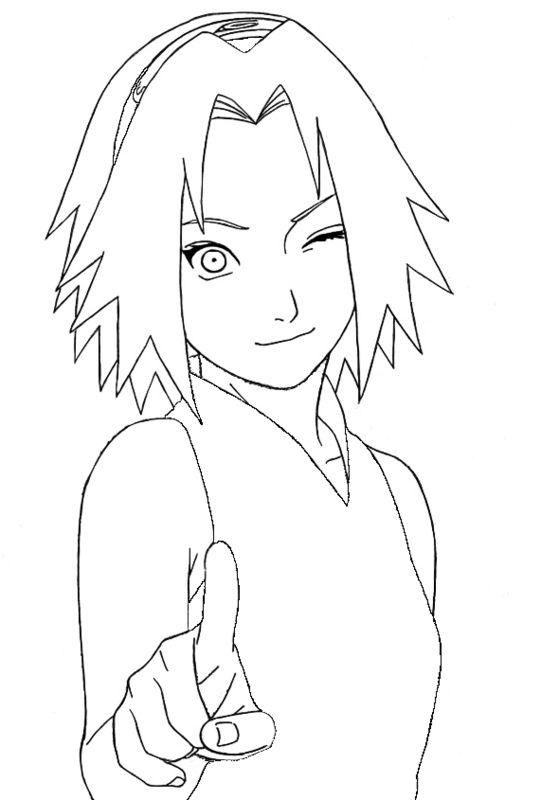 sakura wink one eye  naruto coloring pages  pinterest  eyes